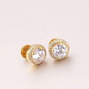 Henri Bendel Crystal Stud Earrings Gold